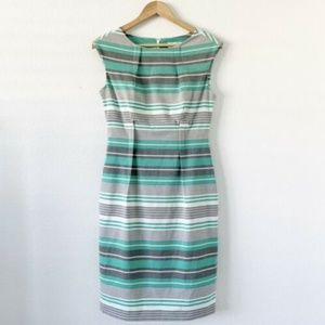 Calvin Klein Green Gray Stripe Career Dress 6